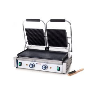 Contact grill - versiune dubla - partea superioara striata si cea inferioara neteda, electric, Hendi