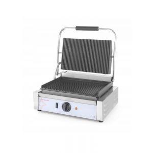 Contact grill Panini, profesional, Revolution by Hendi, 2200W, partea superioara si cea inferioara striate, din fonta cu invelis ceramic, suprafata grill 410x305x (H) 210 mm