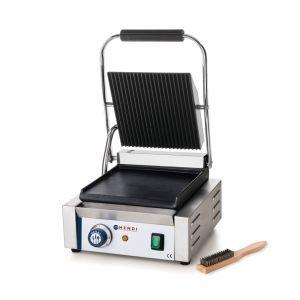 Contact grill profesional, 2200W, corp inox, termostat 300 gr C, placi fonta cu invelis ceramic, partea superioara striata / cea inferioara neteda, suprafata grill 34 x 23 cm, 43x37x(H)21 cm, Hendi