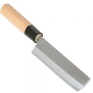 Cutit, model Nakiri, aliaj de carbon otel/maner de lemn, lungime lama/cutit 18/32,5 cm, Hendi