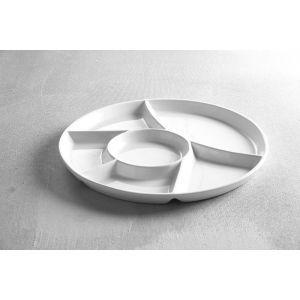 Farfurie servire cu 6 sectiuni, diametru 28 cm, portelan super-rezistent, alb stralucitor, 28 cm x (H) 2 cm, Hendi