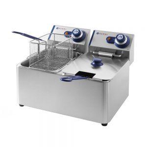 Friteuza Blue Line by Hendi, 2x3500 W, 2x8 L, Temperatura reglabila pana la 190 °C, Termostat, Argintiu