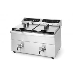 Friteuza dubla cu inductie 2x8 lt, corp inox, 2x3500W, Hendi Kitchen Line, functie boost pentru incalzire rapida, 580x485x(H)406 mm