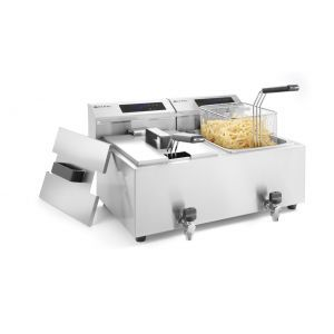 Friteuza electrica profesionala, cu robinet, 2x8 litri, 7000 W, termostat 0-190 gr C, inox18/10, 2 cosuri incluse, Hendi Master Cook, 605x515x(h)345 mm