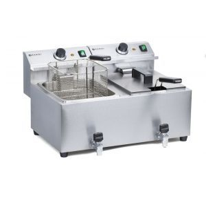 Friteuza electrica profesionala dubla 2x8 lt, cu robinet scurgere ulei, 7000 W, inox, MasterCook Hendi