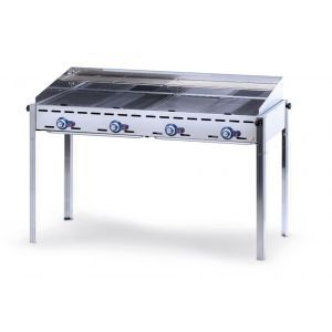 Grill barbecue - Green Fire - 4 arzatoare - alimentare gaz - pe suport cu roti, Hendi