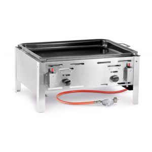 Grill gaz, tava coacere 59x48 cm, inox, 11,6 kW, consum 0,43 m3/ora, pt uz exterior, Bake Master model Maxi, Hendi