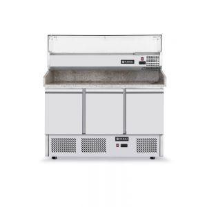 Masa frigorifica cu 3 usi, pentru pizza, cu vitrina ingrediente cu 6 tavi GN 1/4, 270+170 W, ARKTIC by Hendi, 140x70x(H)144.5 cm
