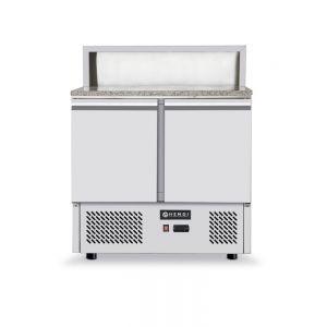 Masa refrigerata pentru pizza cu top granit, ARKTIC by Hendi, camera racire cu usi duble, display cu 5 tavi GN 1/6, interval temperatura 2/10 gr C