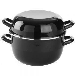 Oala, pentru sos, cu capac, emailata, cu margini otel inoxidabil, 0,8 l, ø12,5x9/14,5 cm, Hendi