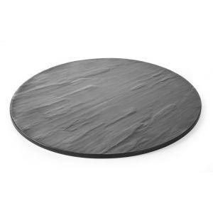 Platou rotund servire, din melamina cu aspect ardezie, 430x(H)7 mm, Hendi
