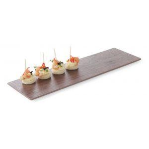 Platou servire, melamina cu aspect de lemn, maro, GN 2/4 (52.5 x 16 x (H) 1 cm), Hendi