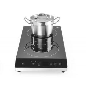 Plita dubla cu inductie profesionala, 3500 W, control digital, termostat 35-240°C, timer 0-180 min, corp inox, Hendi, 300x580x(h)64 mm