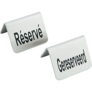 Semn pentru masa Rezervat, 4 piese, otel inoxidabil, 52x(H)40, Hendi