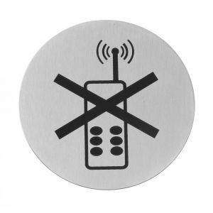 Semn pentru usa - Folosirea telefonului mobil interzisa - 75 mm, otel inoxidabil, Hendi