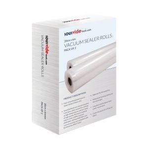 Set 2 role pungi alimentare pentru vidat gofrate SousVide, 200 x 6000 mm, 2 straturi, filtru UV, grosime 90 microni