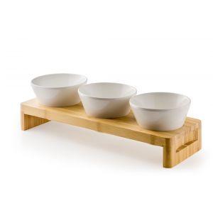 Set cu suport pentru servire din bambus si 3 Boluri și colandere melamina incluse, 40x13x(H)6 cm, Hendi