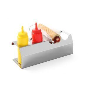 Stand pt 5 recipiente mustar / ketchup / sosuri de 0.70 lt, inox, 530x110x(H)118 mm, Hendi