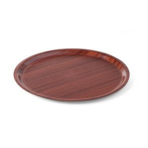 Tava pentru servire, imitatie lemn rotunda, cu margine joasa 380 mm, Hendi
