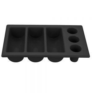 Tava pentru tacamuri, polietilena neagra, 6 sectiuni, 530x325x(H)105 mm, Hendi