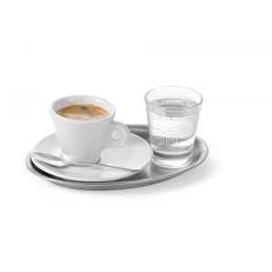 Tava servire cafea si aperitive, din inox, ovala, 28.5 x 22 cm, Hendi
