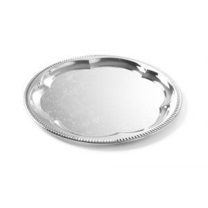 Tava servire ovala, otel cromat cu margini decorate, 31x23 cm, Hendi