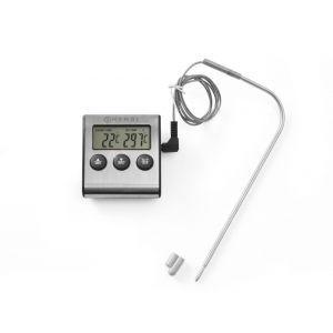 Termometru digital cu timer de bucatarie, otel inoxidabil, Hendi