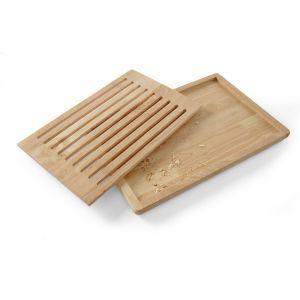Tocator mare paine, 475x322 mm, din lemn cu gratar detasabil, cu 4 picioruse anti-alunecare, Hendi