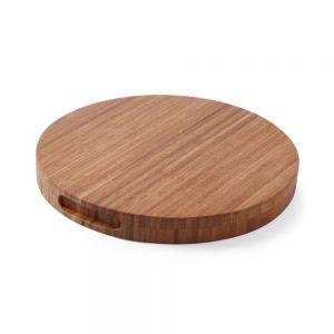 Tocator masiv, rotund, din lemn de bambus, diametru 40 cm, grosime 3.5 cm, Hendi