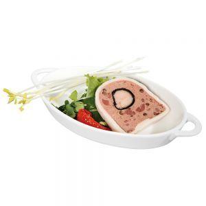 Vas aperitive oval, 165x105x30 mm, portelan alb termorezistent pana la 600 gr C, Hendi