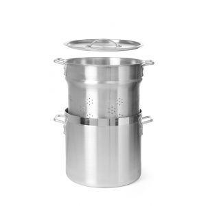 Vas pentru fierbere galuste, orez si paste - cu cos fierbere si capac 360 mm, 18 lt, aluminiu, grosime 4 mm, manere nituite, gama Hendi Budget Line