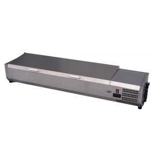 Vitrina frigorifica tip display Inox pentru containere GN 1/3 cu o inaltime maxima de 150 mm 8x GN1/3 180 W, Hendi